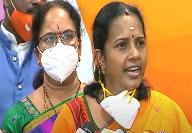 MAHILA MORCHA NATIONAL PRESIDENT VANATHI SRINIVASAN PRESS MEET AT DELHI