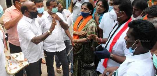 Velachery 92nd polling station election campaign ..! Argument between DMK and AIADMK ..!