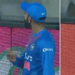 kohli reaction in trivandrum match for dhoni chants