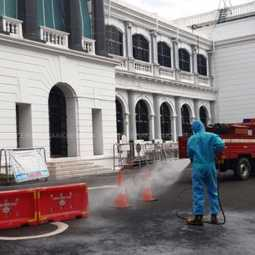 Disinfectant spraying in the Secretariat