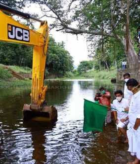 The task of cleaning the river Varaganadi!