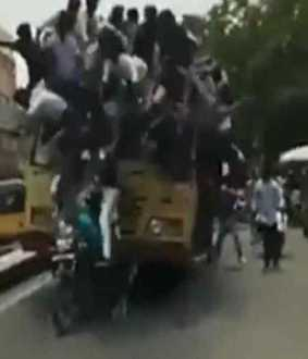 College students celebrate 'Bus Day' in Chennai... Police warning