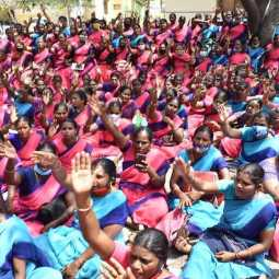 anganwadi workers involved in struggle