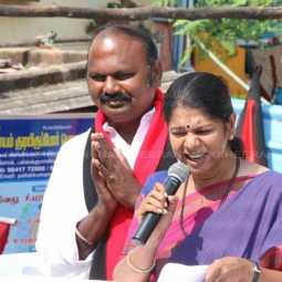 Kanimozhi who campaigned in support of T. Velu