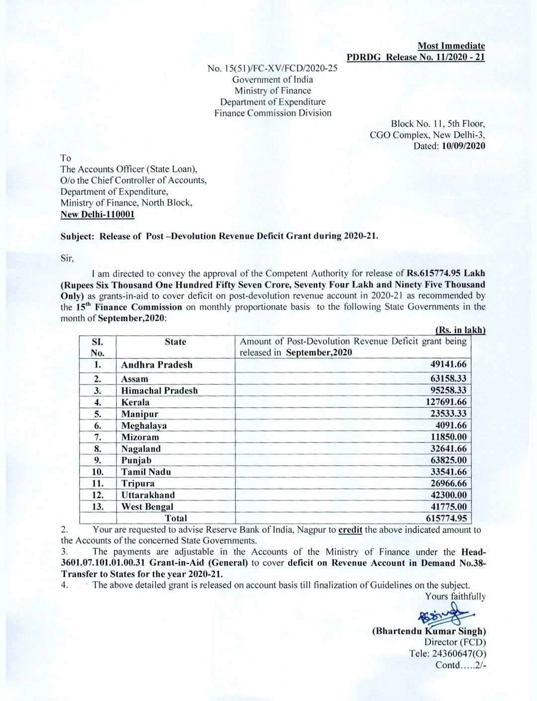 15th pay commission union government released funds 14 states government