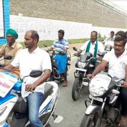 Drinking water for 300 villages ..! Going on a rally in a two wheeler and petitioning the Collector ..!