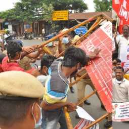 CPIM Rally towards the Secretariat against agricultural bills