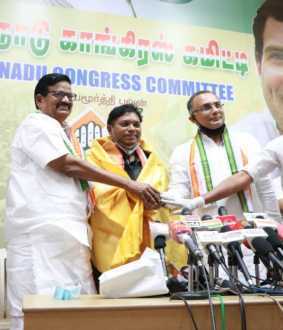 former ias officer join with congress party at chennai