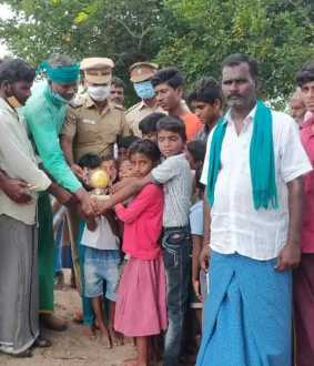 Village youth greening the arid village with trees ...! Honored Police ...!