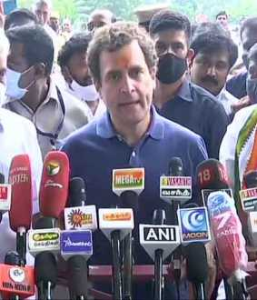 congress leader rahul gandhi press meet at madurai airport