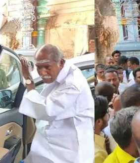 MLA protests by blocking Rangasamy's car as he was not given a seat!
