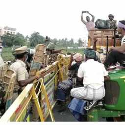 Police rehearsal to suppress farmers rally