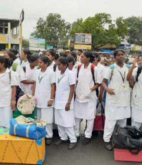 Nursing students struggle with roadblocking by asking for basic facilities!