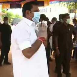 Edappadi Palanisamy standing in line to vote!