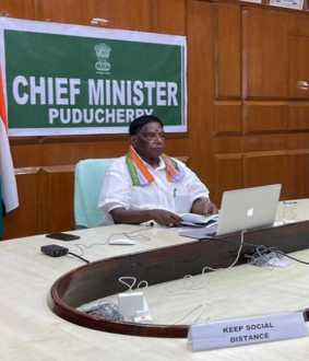puducherry cm narayanasamy discussion with mlas and state ministers