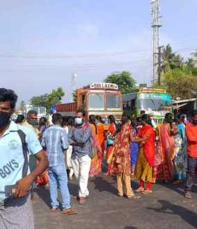 The public blocked the Trichy-Karur National Highway for about an hour ..!