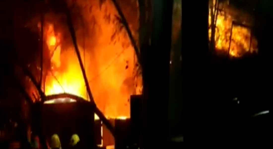 A fire broke out in Valluvarkotam in Chennai