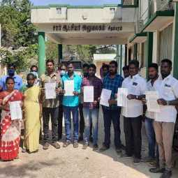 Annamalai University day laborers petition to the Collector urging him to make the work permanentAnnamalai University day laborers petition to the Collector urging him to make the work permanent