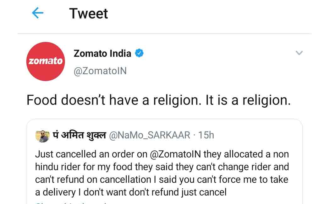 man cancelled his food order in zomato because of a non hindu person delivering that food