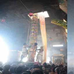 The AniThirumanjana festival started at the Chidambaram Natarajar Temple with the flag
