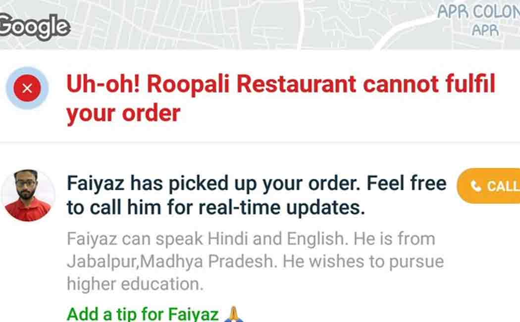 zomato delivery bor fayaz about amit issue
