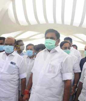 Chief Minister Palanisamy who inspected the construction work of Jayalalithaa memorial