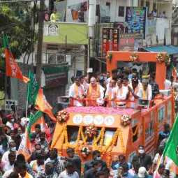 union home minister amit shah road show in puducherry