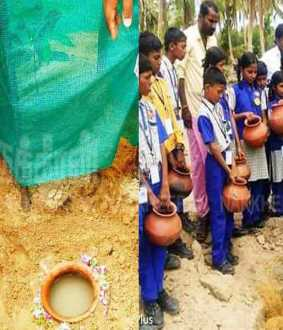 One pot of water is enough for 15 days… students who have supplied 200 earthen pots for trees!