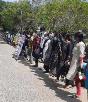 Chidambaram Medical College students stand on one leg and struggle