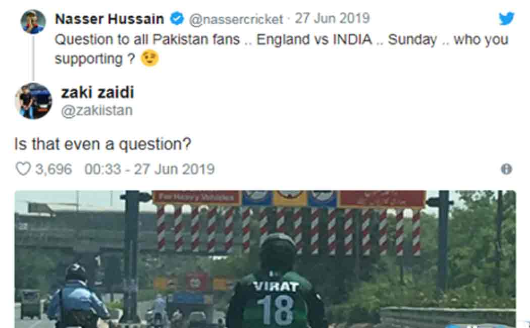 pakistan fans supports india for the match against england