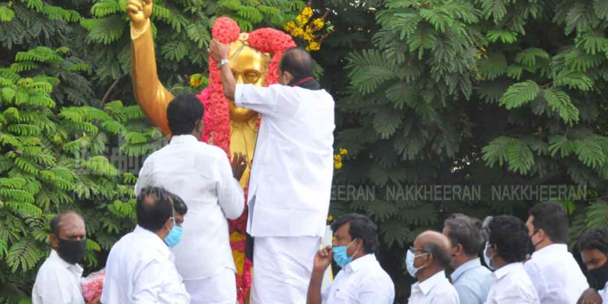 Stalin pays homage to Ambedkar statue (Pictures)
