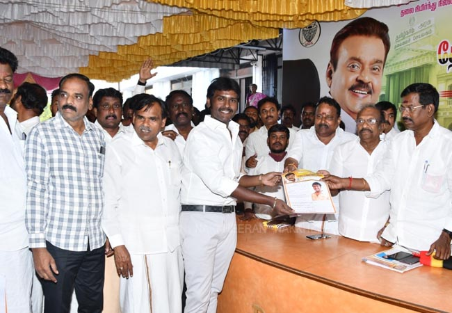 dmdk party vijayakanth son press meet at chennai