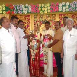 Communist comrades provided the water cans to  couples in Thiruvar