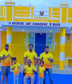 Home of Dhoni Fan one Dhoni Fan made his painted his home to support CSK