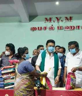 DMK Leader MK Stalin provides relief things to chidambaram people