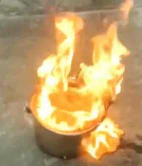 Burning well water ... the reason for the disturbance ..