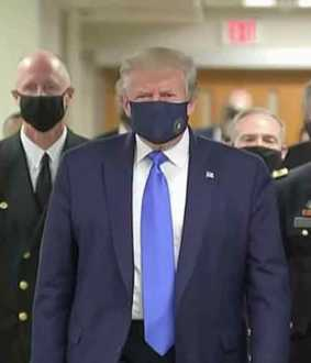 Trump wearing mask for the first time !!!