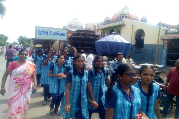 chidambaram district rain water harvesting project explain rally in students