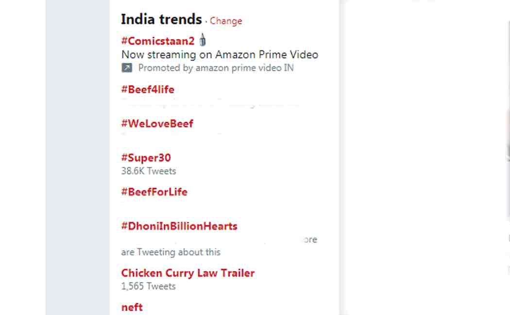 hashtags about beef trending in twitter