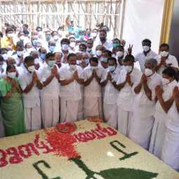 Chief Minister Edappadi Palanisamy, O. Panneerselvam and Ministers paid their respects at the Jayalalithaa Memorial