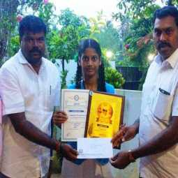 School girl who donated the prize money for the essay competition to renovate the pool