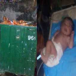A girl who was thrown into a trash