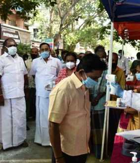 Minister RP Udayakumar inspected the Corona Corruption Special Camp at purasaivakam