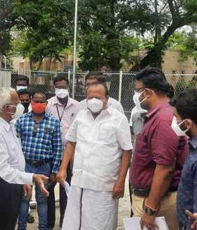 Minister MRK Panneerselvam inspects Oxygen Storage Center