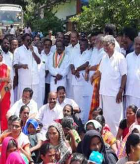 mla.mp's protest in kaniyakumari