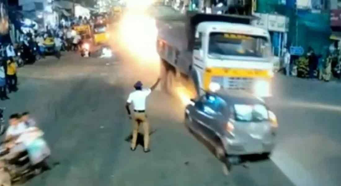 Shocking CCTV footage of a tipper truck