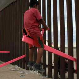 seesaw fixed in america mexico border wall