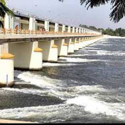 trichy mukkombu water dam water released cauvery raised