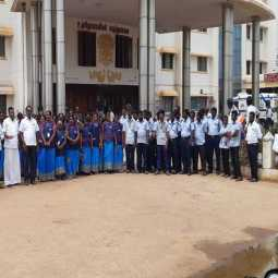 Employees of Thiruvarur Government Medical College strike