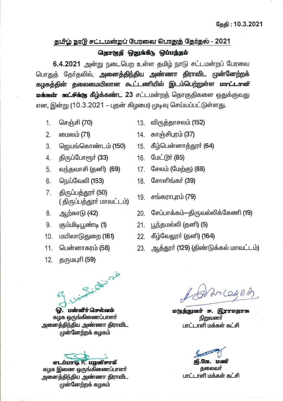 pmk contest the assembly constituency list released